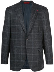 Isaia Plaid Wool Blazer Blue