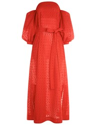 Lisa Marie Fernandez Tomato Broderie Anglaise Bubble Sleeve Dress Red