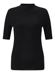 Jigsaw Skinny Rib Turtle Neck Tee Black