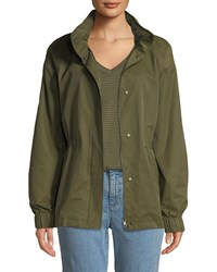 Eileen Fisher Organic Cotton Nylon Utility Jacket With Hidden Hood Olive