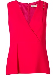 Giuliana Romanno Wrap V Neck Blouse Pink And Purple
