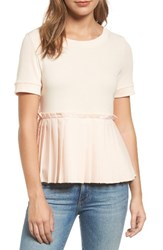 Halogenr Women's Halogen Pleat Peplum Tee Blush