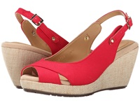 Fitzwell Olivia Red Linen Women's Wedge Shoes
