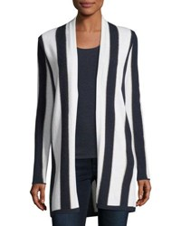 Neiman Marcus Cashmere Blend Metallic Stripe Open Front Cardigan Winter White Navy