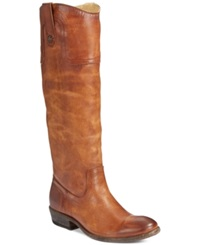 Frye Carson Button Riding Boots Women's Shoes Cognac