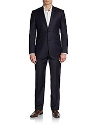 Saks Fifth Avenue Black Regular Fit Tonal Stripe Wool Silk Suit Navy