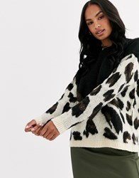 Liquorish Oversized Colour Block Leopard Print Jumper Multi