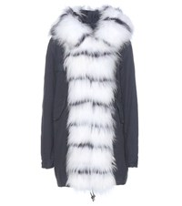 Mr And Mrs Italy Midi Fur Lined Cotton Parka Blue