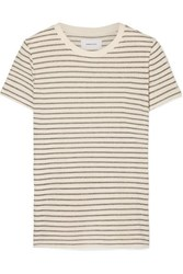 Current Elliott The Retro Striped Metallic Cotton Blend Jersey T Shirt Cream
