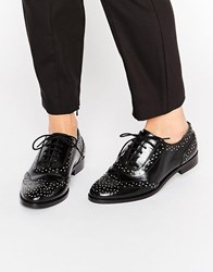 Asos Mazzie Leather Studded Flat Shoes Black