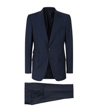 Tom Ford Shelton Pindot Suit Male Navy