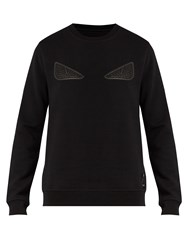 Fendi Bag Bugs Applique Jersey Sweatshirt Black