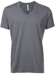 Attachment V Neck T Shirt Men Cotton 2 Grey