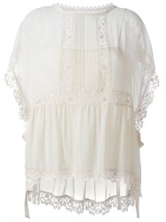 Red Valentino Embroidered Lace Trim Blouse Nude And Neutrals