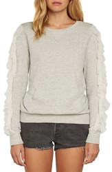 Willow And Clay Ruffle Pullover Knit Sweatshirt Heather Grey