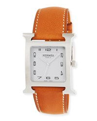 Hermes Heure H Stainless Steel And Leather Strap
