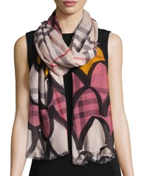 Burberry Scalloped Wool Blend Check Scarf Light Pink