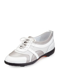 Sesto Meucci Gritty Patent Leather Lace Up Golf Shoe White Beige Gray