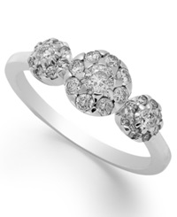 Macy's Diamond Cluster Ring In 14K White Gold 3 4 Ct. T.W.