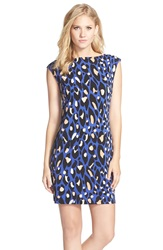 Trina Turk Leopard Print Jersey Shift Dress Blue Multi