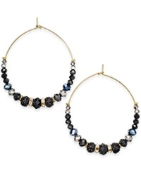Inc International Concepts Gold Tone Jet Stone Glitter And Pave Gypsy Hoop Earrings Only At Macy's