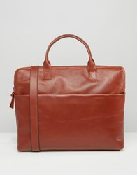 Royal Republiq Courier Single Leather Satchel In Cognac Brown