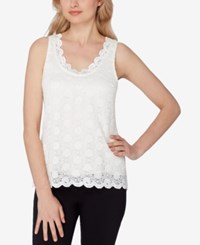 Tahari By Arthur S. Levine Asl Scalloped Lace Top Ivory