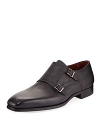 Magnanni Textured Double Monk Loafer Gray