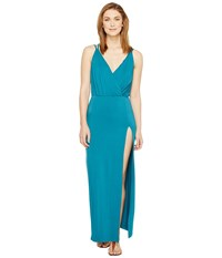 Culture Phit Elea Spaghetti Strap Maxi Dress With Side Slit Teal Women's Dress Blue