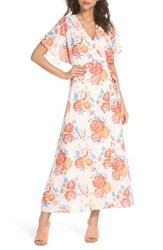 19 Cooper Floral Tie Waist Maxi Dress Pink Coral Multi