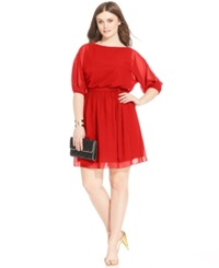 Love Squared Plus Size Bishop Sleeve Chiffon Dress