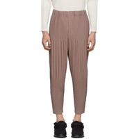 Homme Plisse Issey Miyake Pink Cropped Wide Pleat Trousers