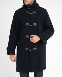 Armor Lux Navy Oversize Wool Cashmere Duffle Coat With Zip And Buttons