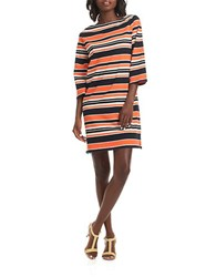 Trina Turk Striped Cotton Boatneck Dress Black Multi