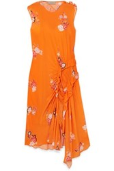Preen Line Antoinette Asymmetric Ruffled Floral Print Crepe De Chine Dress Orange