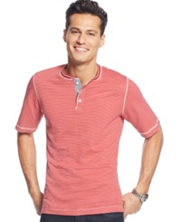 Weatherproof Short Sleeve Henley Shirt Red