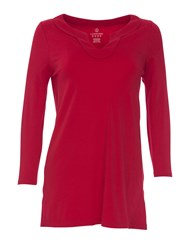 Lands' End Three Quarter Sleeve Notch Neck Tunic True Red