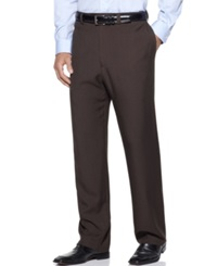 Haggar Classic Fit Repreve Stria Flat Front Dress Pants Brown