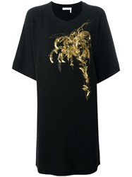 Chloe Embroidered Palm Tree Dress Black