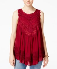 American Rag Tiered Crochet Trim Sleeveless Blouse Only At Macy's Zinfandel