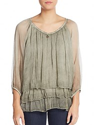 Saks Fifth Avenue Silk Chiffon Peasant Top