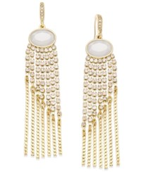 Inc International Concepts Gold Tone White Stone And Crystal Fringe Earrings Only At Macy's
