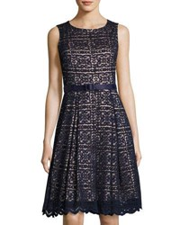 Eliza J Fit And Flare Belted Lace Dress Navy