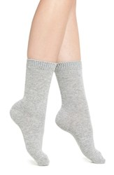 Nordstrom Women's 'Luxury' Patterned Crew Socks Grey Sparkle W Tipping