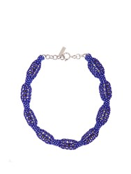 Etro Bead And Stone Embellished Necklace Blue