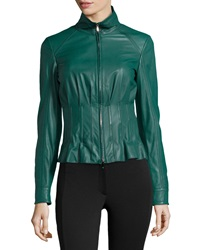 Short Mock Neck Leather Jacket Escada