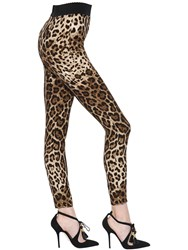 Dolce And Gabbana Leopard Print Stretch Silk Cady Leggings