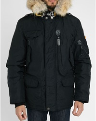 Parajumpers Black Right Hand Parka With Removable Fur And Lining