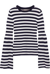 Michael Kors Collection Striped Cashmere Sweater Midnight Blue