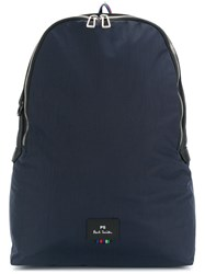 Paul Smith Logo Patch Rainbow Detail Backpack Blue